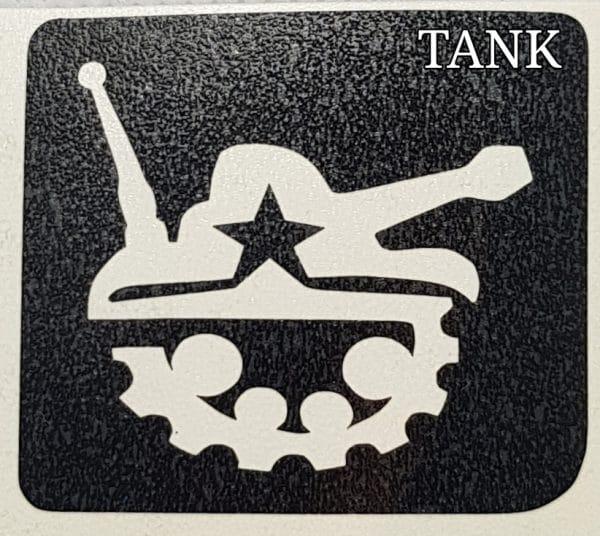 Tank glitter tattoo